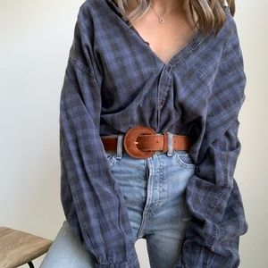 Vintage Overdyed Slouchy Plaid Button Up
